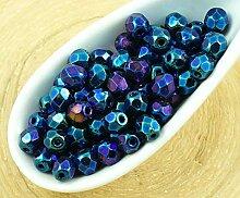 100pcs Blau-Metallic, Lila-Regenbogen, Iris Runde,