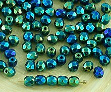 100pcs Grün Metallic Iris Tschechische Glas Runde