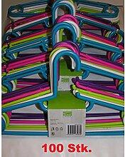 100x Kleiderbügel aus Kunststoff bunt 40cm Bügel Hosenbügel Wäschebügel