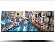 100x40cm - Leinwandbild mit Wanduhr - Moderne Dekoration - Holzrahmen - Gondel, Haus, Häuser, Wasser, Kanal, Stadt, Italien, Ven
