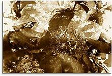 100x70cm Bild Sepia Kunst Blumenmuster