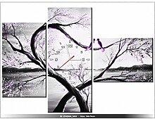 100x70cm - Leinwandbild mit Wanduhr - Moderne Dekoration - Holzrahmen - In violettem Licht des Mondes