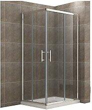 100x90cm Eckeinstieg Duschkabine mit Duschtasse