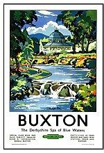 102 Buxton-Eisenbahn Seaside Classic Oldschool Best Color für A3 Bilderrahmen, Vintage-Poster