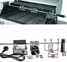 104cm Edelstahl Drehspieß Grillspieß Universalspieß für Gasgrill Grill mit Motor 220-240V 10x10mm