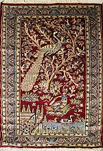 107x170 Pak Persian Area Rug with Silk & Wool Pile - Pictorial Hunting Shikargah Design | 100% Original Hand-Knotted in Red,Grey,Green colors | a 91 x 152 Rectangular Rug
