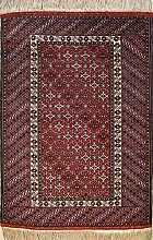 109x147 Caucasian Design Area Rug with Wool Pile - Tribal Balochi Design   100% Original Hand-Knotted in Red,White,Black colors   a 91 x 152 Rectangular Rug