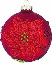 10cm Kugel rot hochwertig dekoriert,