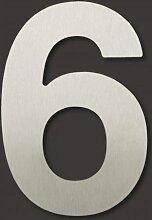 10cm Thorwa® Design Edelstahl Hausnummer 6, fein gebürstet, inkl. Montagematerial / H: 100mm / Farbe: silber