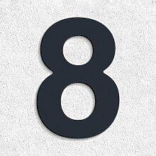 10cm Thorwa® Design Edelstahl Hausnummer 8, anthrazit beschichtet, inkl. Montagematerial / H: 100mm / Farbe: RAL 7016
