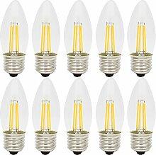 10er 4W Dimmbar E27 C35 LED Filament Glühfaden