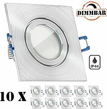 10er IP44 LED Einbaustrahler Set Aluminium natur