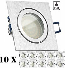 10er IP44 LED Einbaustrahler Set Bicolor (chrom /