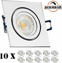 10er IP44 LED Einbaustrahler Set Chrom mit COB LED