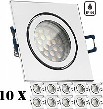 10er IP44 LED Einbaustrahler Set Chrom mit LED