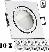 10er IP44 LED Einbaustrahler Set Chrom mit LED