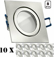 10er IP44 LED Einbaustrahler Set Silber gebürstet
