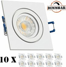 10er IP44 LED Einbaustrahler Set Weiß mit COB LED