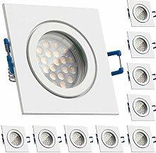 10er IP44 LED Einbaustrahler Set Weiß mit LED