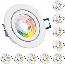 10er IP44 RGB LED Einbaustrahler Set GU10 in weiß