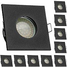 10er IP65 LED Einbaustrahler Set Schwarz mit LED