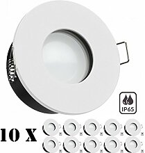 10er IP65 LED Einbaustrahler Set Weiß mit LED
