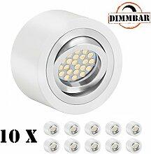 10er LED Aufbaustrahler Set EXTRA FLACH (50mm) in