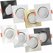 10er LED Einbaustrahler Aluminium eckig 230V |