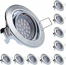10er LED Einbaustrahler Set Chrom mit LED GU10
