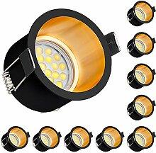 10er LED Einbaustrahler Set Design in Schwarz/Gold