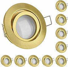 10er LED Einbaustrahler Set Gold/Messing mit LED