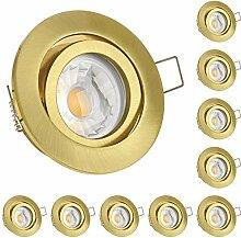 10er LED Einbaustrahler Set Gold mit COB LED GU10