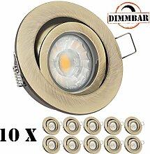 10er LED Einbaustrahler Set Messing mit COB LED