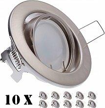 10er LED Einbaustrahler Set Silber gebürstet mit