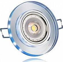 10er LED Einbaustrahler Set Weiß Kristall/Glas