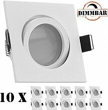 10er LED Einbaustrahler Set Weiß matt mit LED