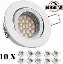 10er LED Einbaustrahler Set Weiß mit LED GU10
