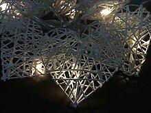 10er LED Lichterkette Herz weiß Rattan