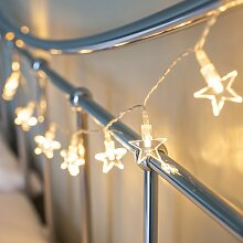 10er LED Lichterkette Sterne batteriebetrieben