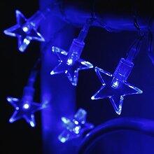 10er LED Lichterkette Sterne blau batteriebetrieben