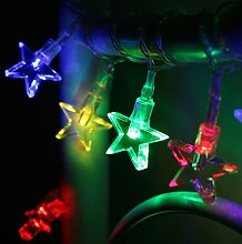 10er LED Lichterkette Sterne bunt batteriebetrieben