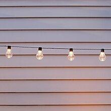 10er LED Party Solar Zirkus Lichterkette klare Plexiglas Kugeln warmweiß Lights4fun