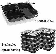10er Packung 3 Fächer Essensbehälter