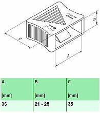 10er Paket Härteverstellungsschieber in schwarz für Lattenroste (36x21-25x35 mm Breite x Höhe x Tiefe)