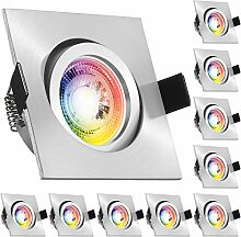 10er RGB LED Einbaustrahler Set GU10 in aluminium