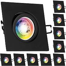 10er RGB LED Einbaustrahler Set GU10 in schwarz