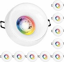 10er RGB LED Einbaustrahler Set GU10 in weiß mit