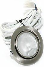 10er Set 12V Halogen Möbel Schrank Möbelleuchte ohne Trasformator Farbe: Edelstahl gebürstet IP20 mit G4 20 Watt Stiftsockelbirne Dimmbar