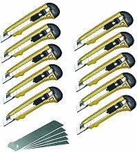 10er Set Abbrechmesser + 5er Set Klingen 18 mm Klinge Allzweckmesser Heimwerker Teppichmesser McDrill Profi