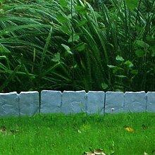 10er Set Beeteinfassung Gartenzaun Zierzaun ca. 250cm Stein-Optik Kunststoffzaun